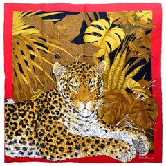 Salvatore Ferragamo Vintage Silk Scarf in Leopard Jungle Print with Red Border
