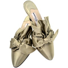 Rare 1980s Manolo Blahnik London Shoes Vintage Ruffled Satin Bow Mules Unworn 39