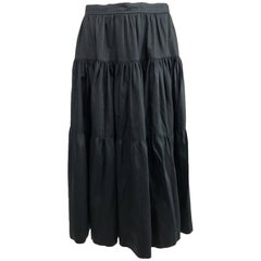 Vintage Yves Saint Laurent tiered black cotton peasant skirt 1970s