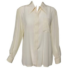 Valentino cream fine silk crepe long sleeve blouse