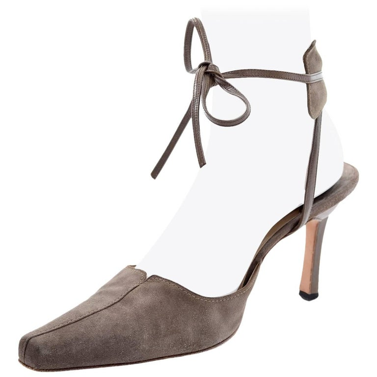 1d8d256d70f45 Manolo Blahnik Vintage Suede Shoes With Leather Ankle Straps Size 37.5 For  Sale