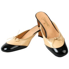 Chanel Black and Beige Ballet Slipper Mules