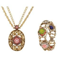 """JULIANA D&E c.1970s """"Moroccan Matrix"""" Brass Pendant Necklace Bracelet Parure Set"""