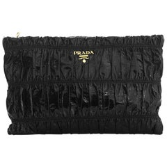 Prada Black Patent Leather Ruched Gaufre Clutch Bag