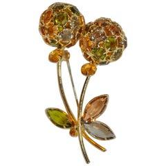 """Huge Multi-Color Crystal """"Blooming Floral"""" Gilded Gold Hardware Brooch"""