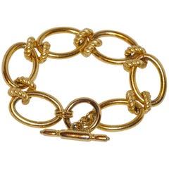 Kenneth Jay Lane Multi-Textured & Gilded Gold Vermeil Hardware Bracelet