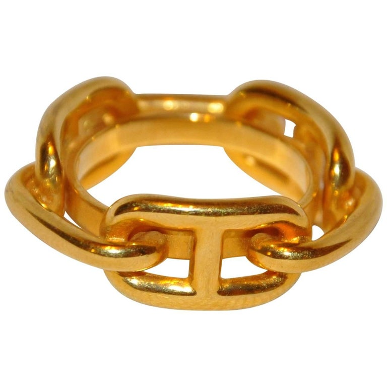 Hermes Gilded Gold Vermeil Hardware Chain-Link Scarf Ring