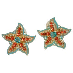 "Kenneth Jay Lane Whimsical Multi-Color ""Starfish"" Earrings"