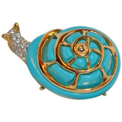 "Kenneth Jay Lane Huge Whimsical Faux Turquoise with Gold ""Snail"" Brooch"