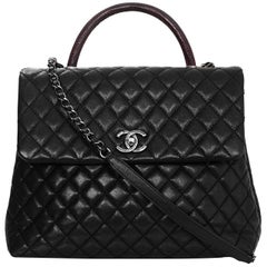 Chanel Black Caviar Leather Quilted Large Coco Lizard Handle Bag with DB