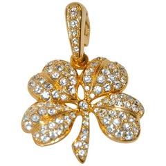 "Kenneth Jay Lane ""Lucky Clover"" Faux Diamonds Encrusted Pendant"