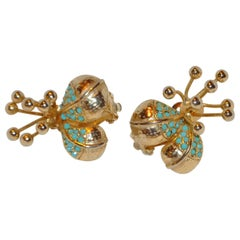 """Blooming Floral"" Gilded Gold Vermeil Hardware & Turquoise Hue Earrings"