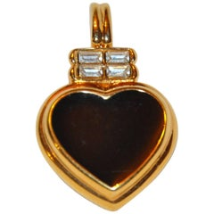 Kenneth Jay Lane Gilded Gold Vermeil Hardware with Black Enamel Pendant