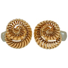"Ciner Gilded Gold Vermeil Hardware ""Seashell"" Earrings"
