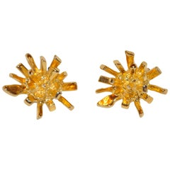 "Norma Jean Large Bold Gilded Gold Vermeil Hardware ""Starburst"" Earrings"