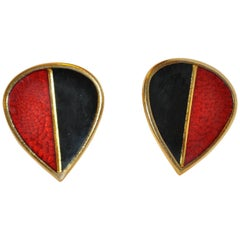 "Yves Saint Laurent ""Opium Collection"" Burnt Red & Black Clip-On Earrings"