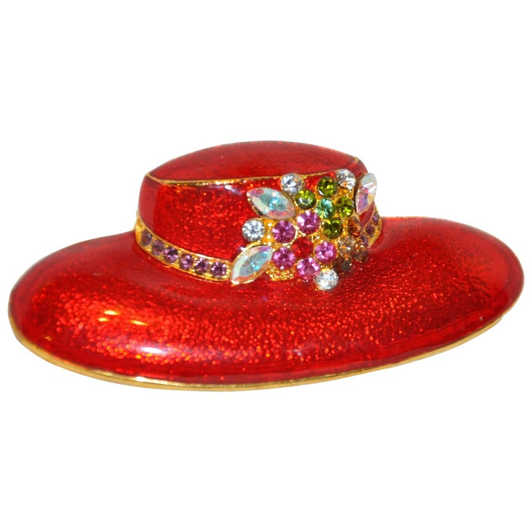 Large Bold Red Enamel with Floral Accents Hat Brooch For Sale