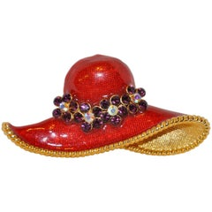 "Large Gilded Gold Hardware with Bold Red Enamel ""Floral Hat"" Brooch"