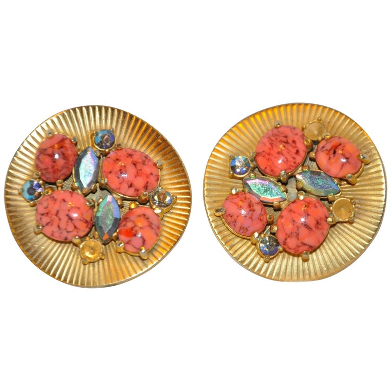 Schiaparelli Large Multi-Color Gilded Gold Clip-On Earrings For Sale