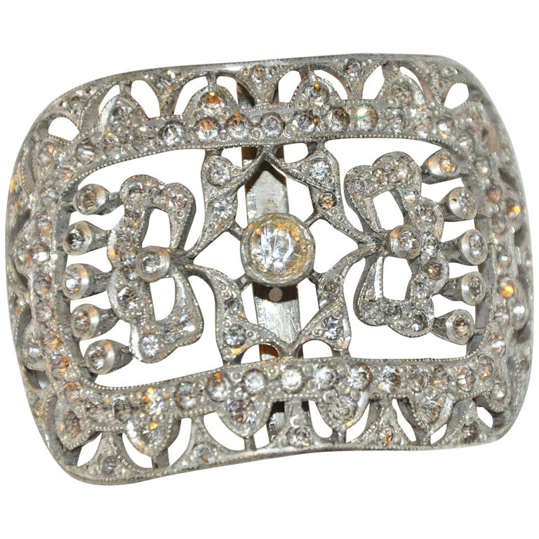 Vintage Gilded Silver Hardware with Faux Diamonds Belt Buckle