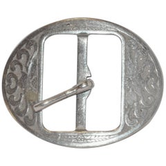 "Vintage ""Art Nouveau"" Hand-Etched Silver Hardware Belt Buckle"