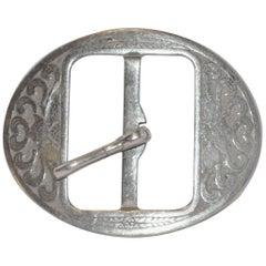 "Vintage ""Art Nouveau"" Hand-Etched Silver Hardware Belt Buckle"