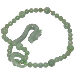 Hand-Knotted Jadeite Dragon Head with Loop Necklace