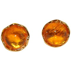 Yves Saint Laurent Canary Yellow Pour Glass Clip On Earrings