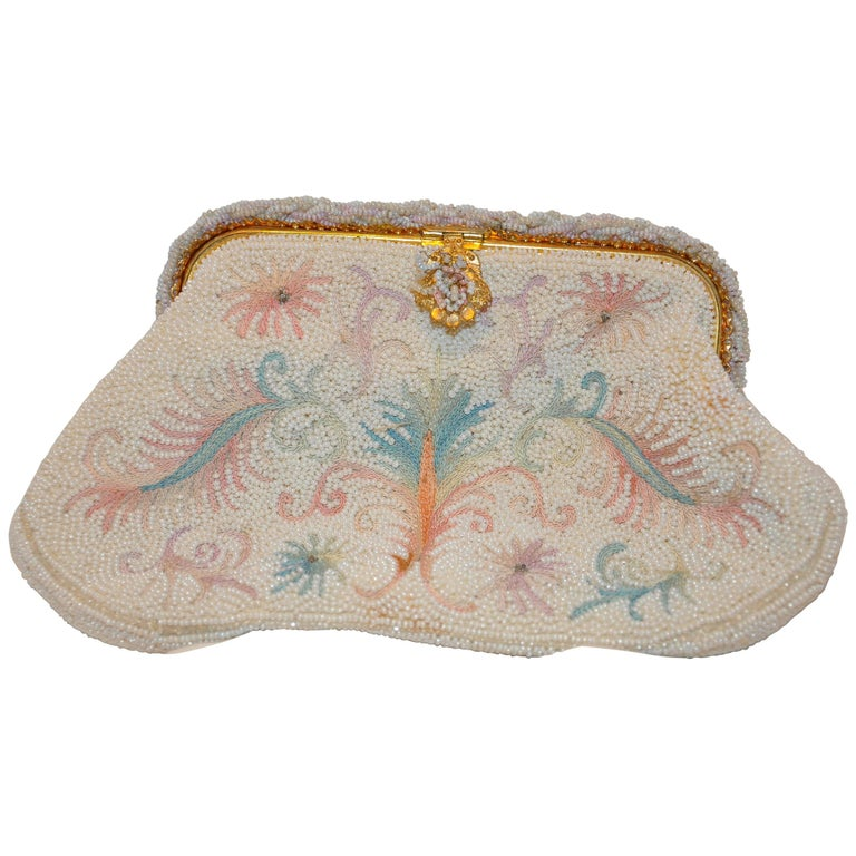 """Walborg Hand-Beaded Micro Seed & Hand-Embrodiered """"Floral & Leafs"""" Clutch"""