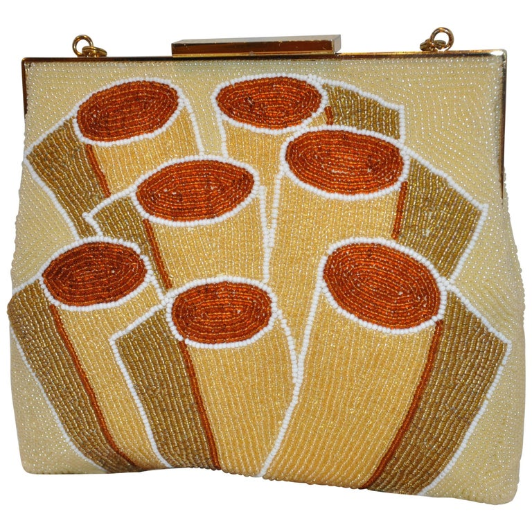 Walborg Abstract Hand-Beaded Ivory, Bronze, Gold & Fawn Evening Clutch