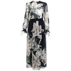1977 Hanae Mori Couture Black Floral Print Silk-Chiffon Goddess Gown w/Tags