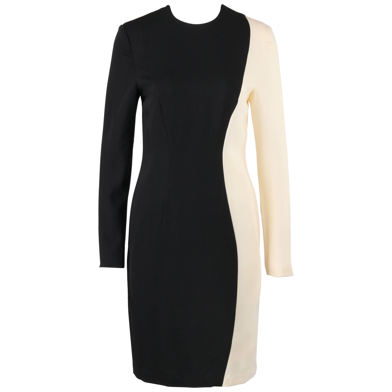 PIERRE CARDIN c.1980's Black & Ivory Color-Block Wool Long Sleeve Shift Dress