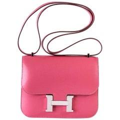 Hermes Rose Lipstick Pink 18 Mini III  Veau Tadelakt Constance Bag