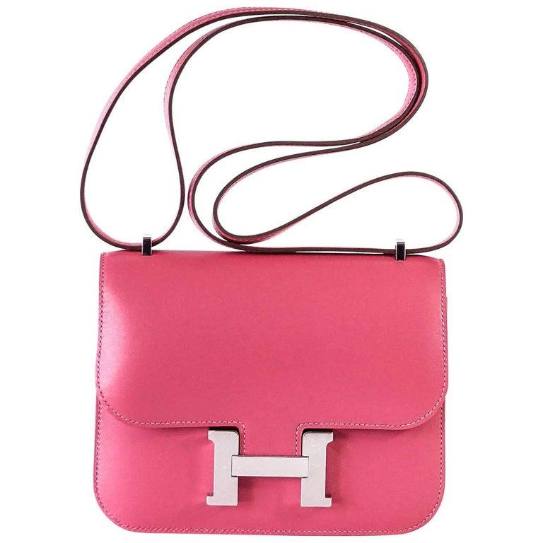 c6ceac2bd Hermes Rose Lipstick Pink 18 Mini III Veau Tadelakt Constance Bag For Sale