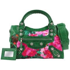 "BALENCIAGA S/S 2008 Green Leather ""Giant Floral City"" Convertible Satchel Purse"