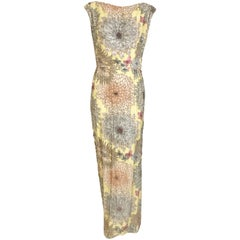Vintage Malcolm Starr 1960s Yellow Floral Beaded Sleeveless Dress