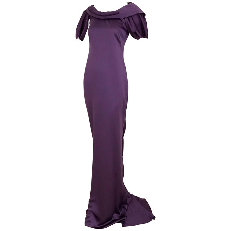 ALEXANDER MCQUEEN Backless Violet Silk Charmeuse Gown For Sale at ...