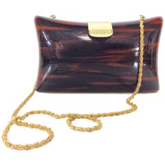 80'S Italian Lucite Faux Tortoise & Gilt Gold Handbag By, Jordan Marsh