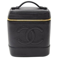 Chanel Vanity Black Caviar Leather Cosmetic Hand Bag