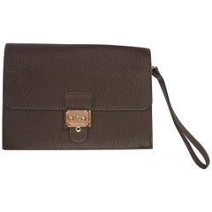 f409617ec43 RARE Hermès Jet clutch Fjord Leather Brown and Palladium Hardware / BRAND  NEW