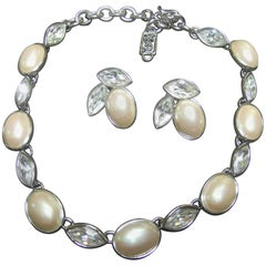 Yves Saint Laurent Opulent Pearl Crystal Necklace Set in YSL Box c 1980s