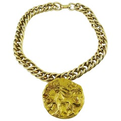 Yves Saint Laurent YSL Vintage Griffin Lion Coin Pendant with Chunky Curb Chain