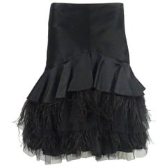 Tuleh Black Silk, Ostrich Feather, and Mesh Skirt - 6