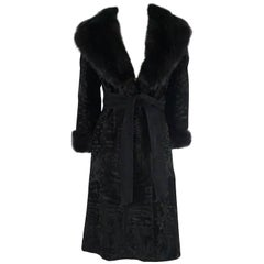 Birger Christensen Black Broadtail Coat with Large Fox Collar - M - Circa 90's