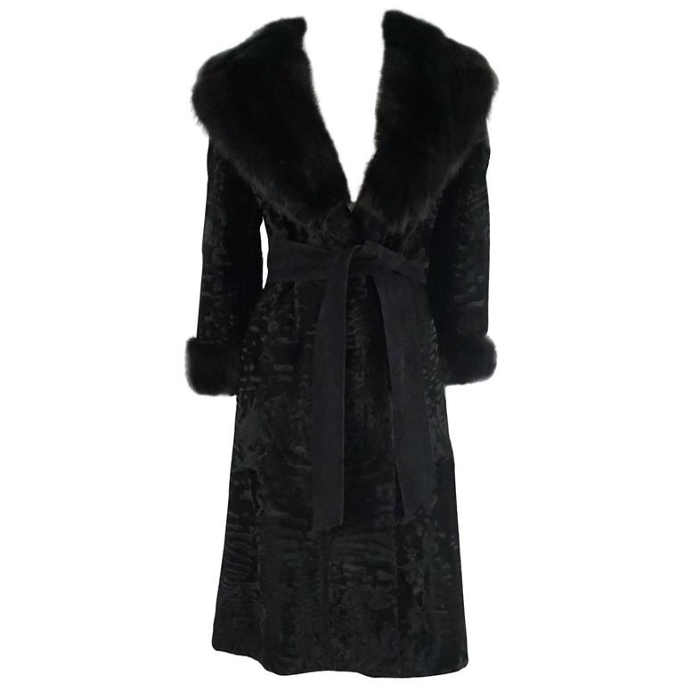 Birger Christensen Black Broadtail Coat with Large Fox Collar - M - Circa 90's