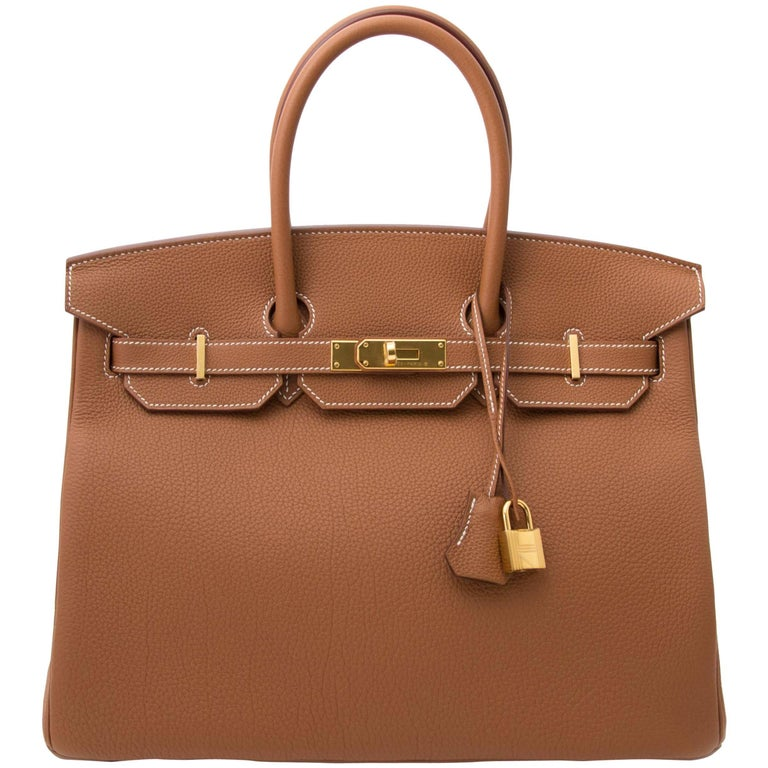 Never Used Hermes Birkin 35 Gold Togo