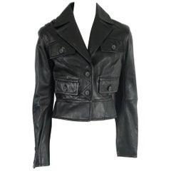 D&G Black Leather Jacket - 44