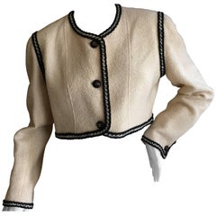 Chanel Vintage Ivory Cropped Jacket with Contrasting Trim and Nine CC Buttons