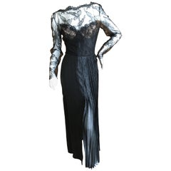 Galanos Black Lace Evening Dress with Pleated Skirt