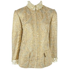 b087562dffa Dolce & Gabanna Silk Gold Brocade Jacket with mother of pearl trim - 44